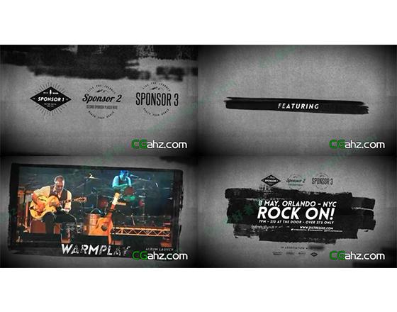 笔刷涂抹风格的摇滚音乐会宣传片AE