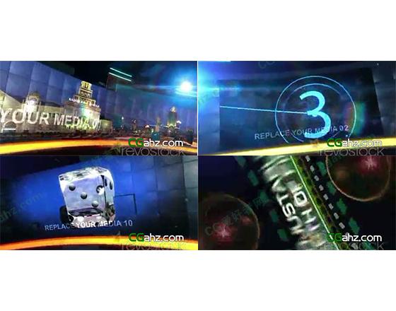 超大径向弧形LED屏幕视频墙展示AE模板