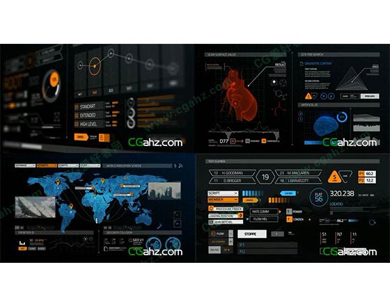 超多高科技信息HUD元素素材包AE模板
