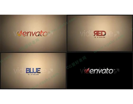 彩色油墨流动填充的标志演绎片头AE模板