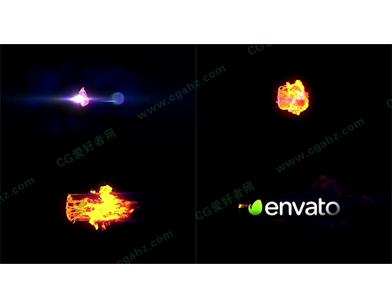 震撼的火焰冲击燃烧logo揭示特效AE模板
