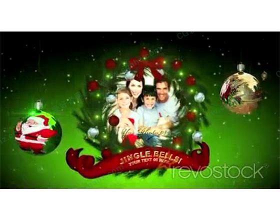 欢乐彩球圣诞花环相片展示AE模板