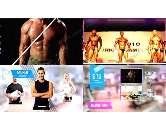 健身主题的俱乐部,栏目频道包装AE模板