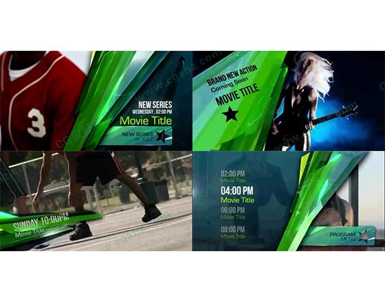 绿色玻璃主题的节目预告包装设计AE模板