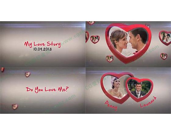 情人节浪漫爱心相框照片展示AE模板