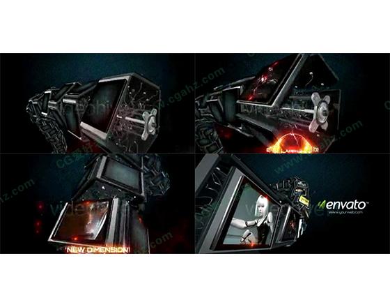 三维效果的机械屏幕内容展示AE模板