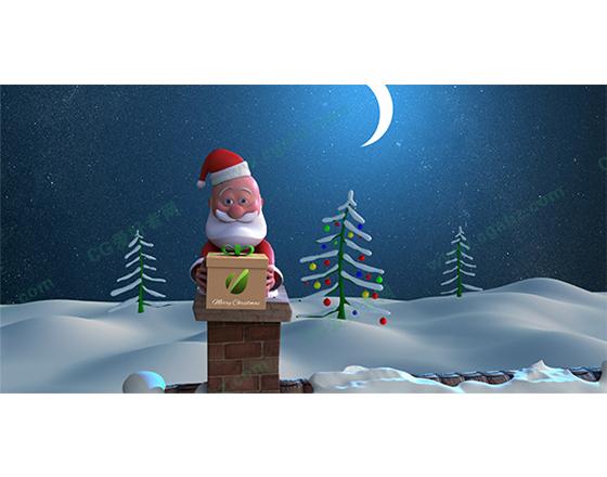 圣诞节老人爬烟囱送礼物的三维动画ae模板