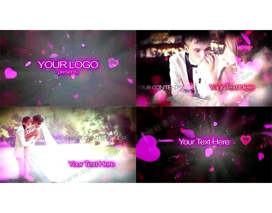 甜蜜浪漫的粉红婚礼影像记忆AE工程