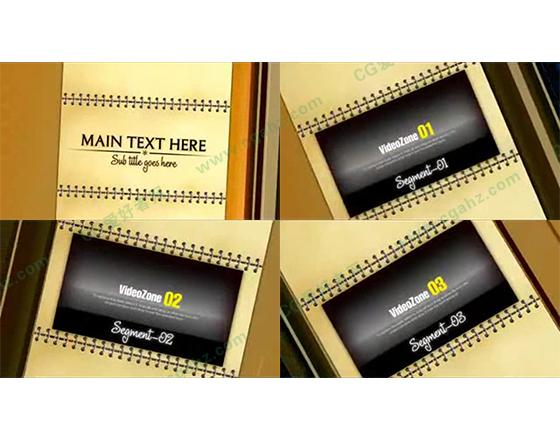 活页钉装笔记本图文展示AE模板