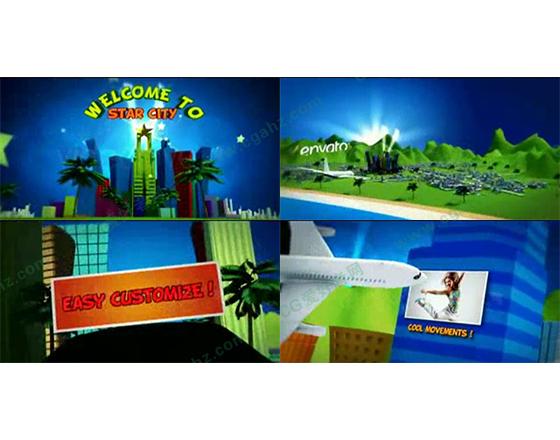 夏日欢乐的卡通城市乐园AE模板