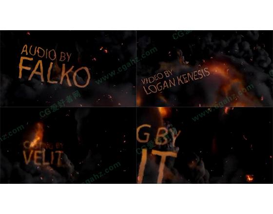 乌黑火焰风暴中的扭曲字幕展示AE片头模板