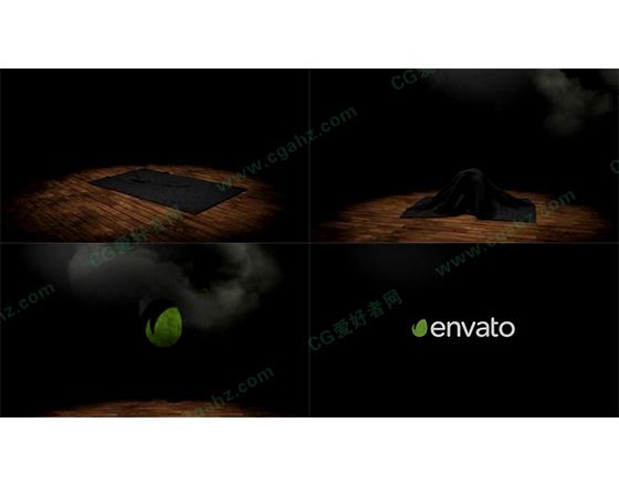 舞台上魔术布揭示出logo的片头动画