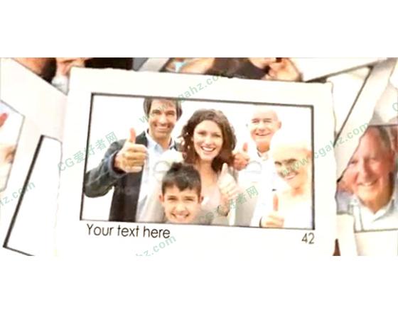 现代简约的相片掉落堆叠AE相册模板