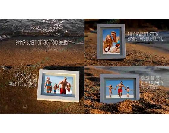 夏日海滩上的家庭旅行纪念AE模板