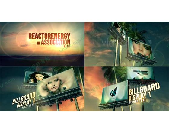 夏日黄昏户外广告牌展示AE工程
