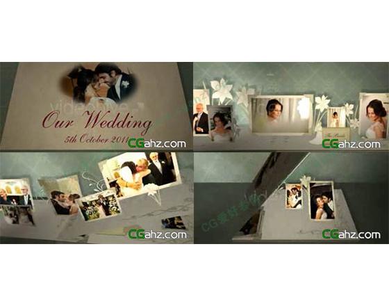 折叠弹出风格的3D婚礼相册AE模板