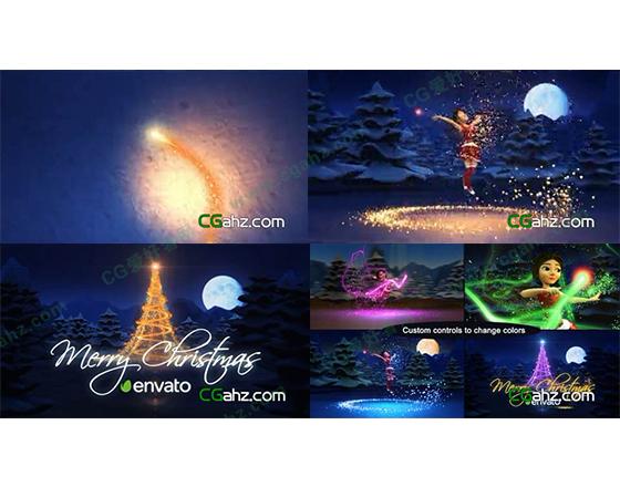在圣诞雪夜飞舞的魔法小精灵AE模板