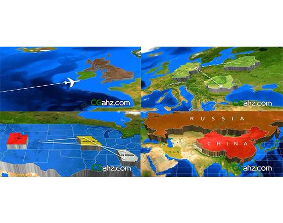 三维挤压凸起世界地图博览AE模板