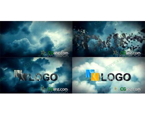 云层中的碎片汇聚logo特效AE工程