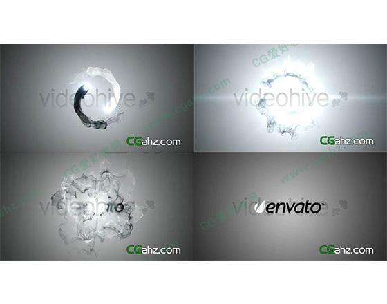 黑白水墨撞击出logo标志AE模板