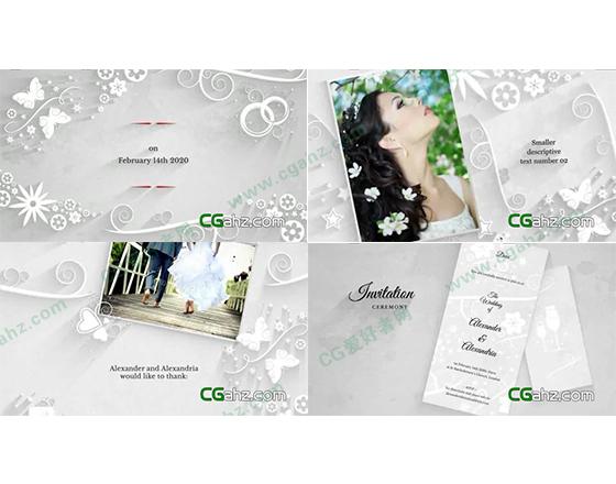 优雅简约的白色婚礼全套包装AE模板
