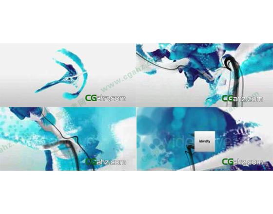 优雅柔美的蓝色粒子水墨特效AE源文件