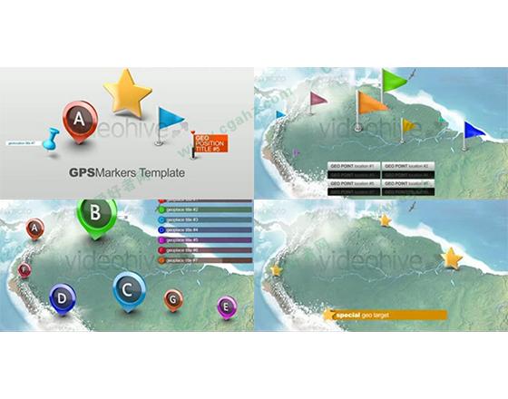 3D效果的地图标记定位AE模板
