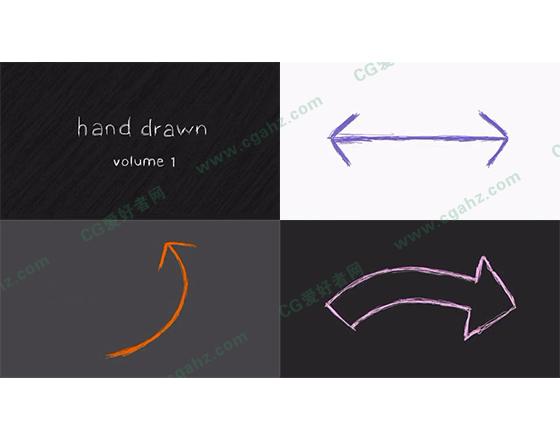 可爱有趣的铅笔手绘线条元素AE工程