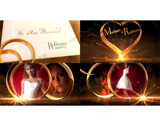 金色高贵的婚礼戒指相册AE模板