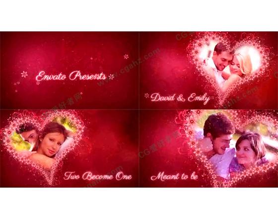 梦幻花朵爱心中的浪漫时光AE工程