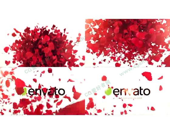 玫瑰花瓣喷涌飞舞logo揭示AE模板
