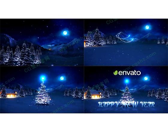 魔法光束装饰着美丽的圣诞树AE片头模板