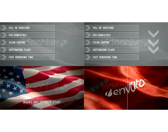 效果不错的三维国旗,旗帜飘扬动画AE模板