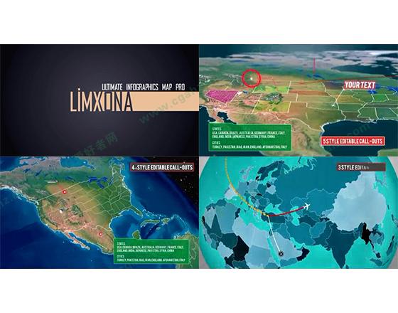 专业级3D世界地图素材包AE模板