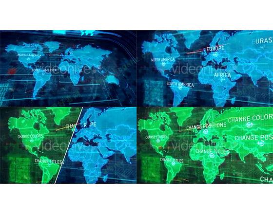 漂亮的世界地图,全球通信AE模板