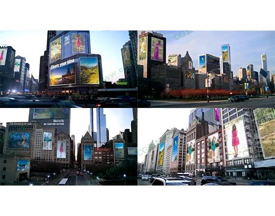 都市建筑物上的大屏商业广告AE模板