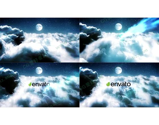 夜空中的光束穿越logo揭示AE模板