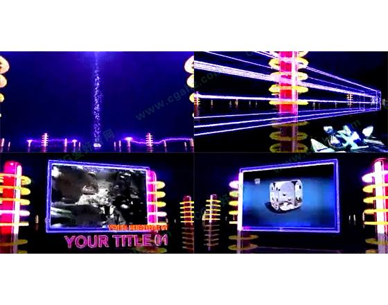 绚丽电流屏幕视频展示AE模板