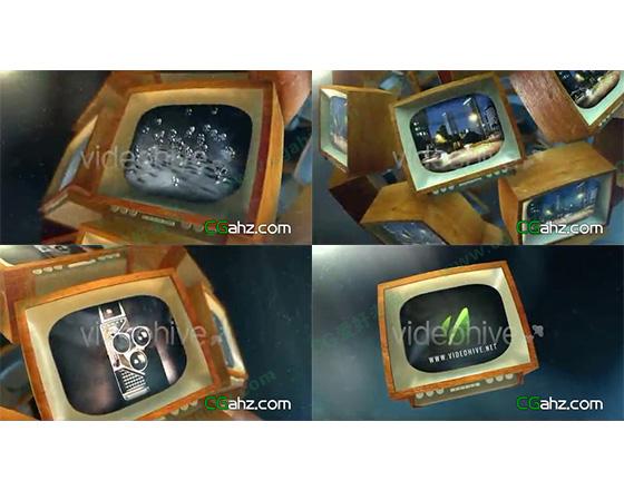 具有创意的老式电视机组合动画AE模板