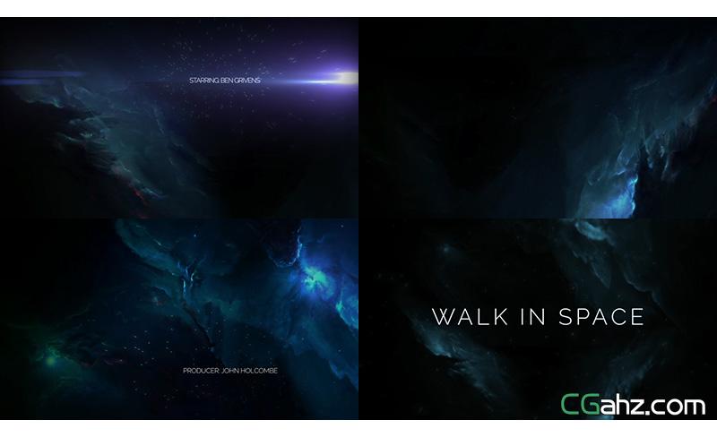 抽象太空漫游背景粒子字幕标题AE模版