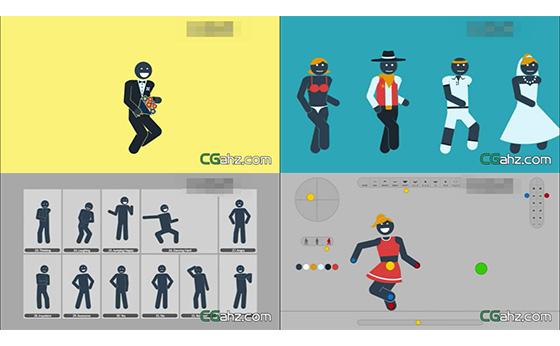 卡通人物关节运动设计展示AE模版