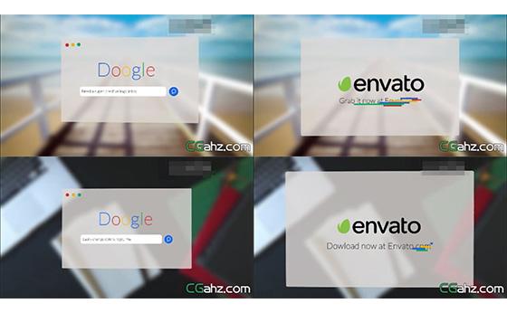 双面翻转网站快速搜索效果展示AE模板