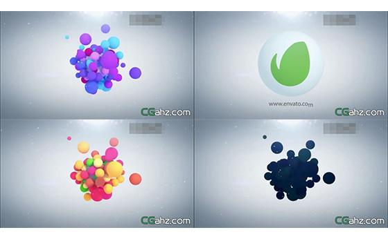 飘浮球体聚集合成3D立体LOGO展示AE模板