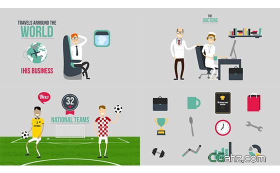 扁平化多样式字幕标志运动循环动画AE模板
