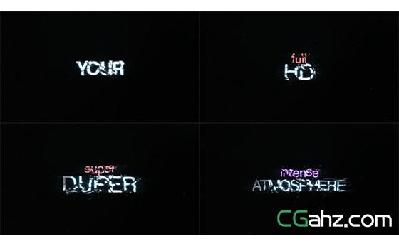 碎裂电影标题字幕电动粉碎特效AE模板