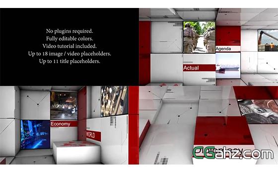 创新科技3D拼接字幕图文展示AE模板