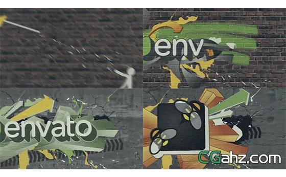 动态火柴人演绎涂鸦风格LOGO标志AE模板