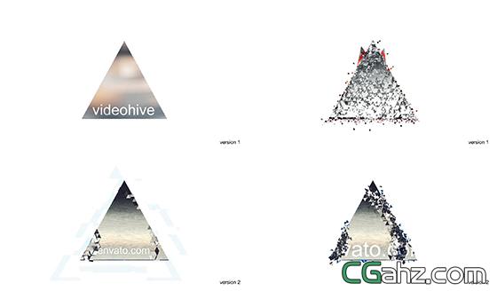 三角节奏动感破碎演绎LOGO标志AE模板