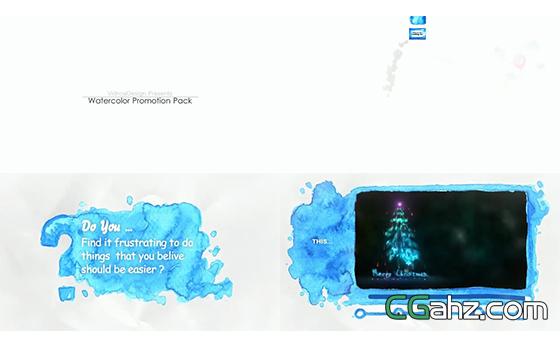 笔刷渲染画面趣味炫酷水彩元素包AE模板