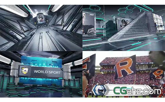 三维隧穿梭演绎LOGO标志字幕块AE模板